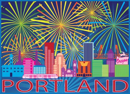 Portland Oregon City Skyline Colorful Fireworks Display Pattern Background Illustration