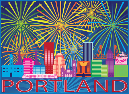 Portland Oregon City Skyline Colorful Fireworks Display Pattern Background Illustration