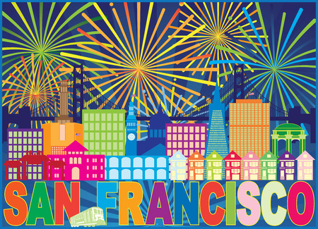 San Francisco California City Skyline with Trolley Sun Rays Text Fireworks display pattern color Illustration
