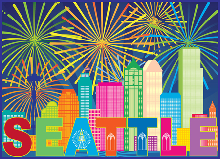 Seattle Washington Outline Silhouette with City Skyline Sun Rays Colorful Fireworks display Pattern Background Illustration