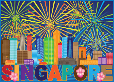 Singapore City Skyline Silhouette Outline Panorama Fireworks Text Color Background Illustration