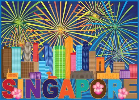 Horizonte de la ciudad de Singapur, silueta, contorno, panorama, fuegos artificiales, texto, color, fondo, ilustración