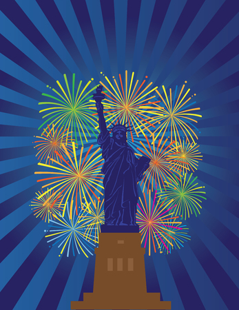 Statue of Liberty on Staten Island in New York City Fireworks Night Illustration