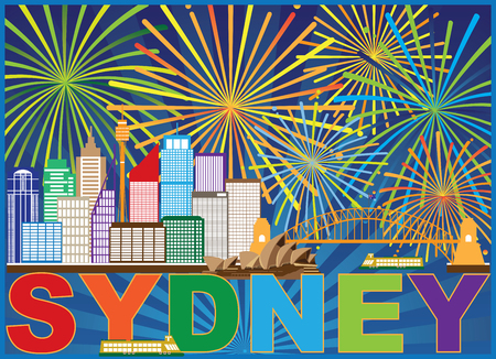 Sydney Australia Skyline Landmarks Harbour Bridge Colorful Abstract Fireworks Display Background Illustration