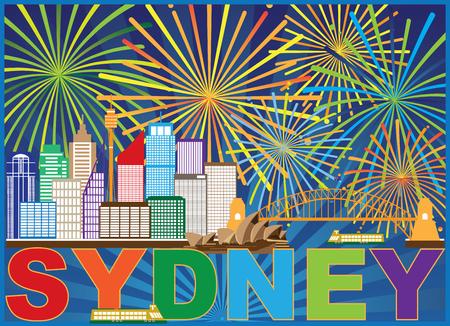 Sydney Australia Skyline Landmarks Harbour Bridge Colorful Abstract Fireworks Display Background Illustration