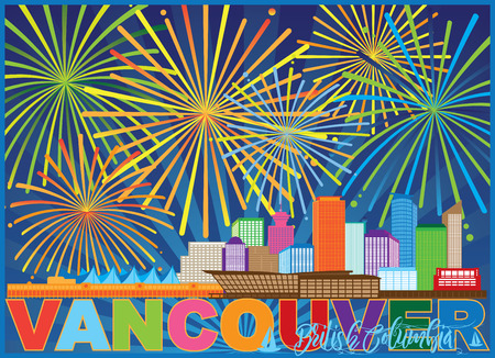 Vancouver British Columbia Canada City Skyline Fireworks Text Color Illustration Illustration