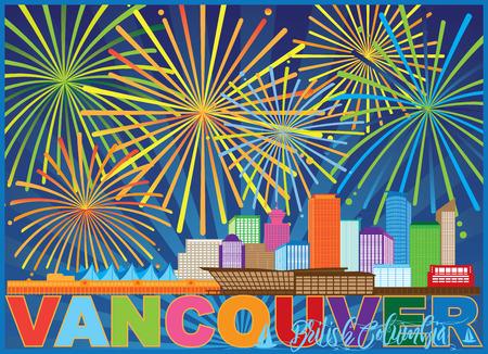 Vancouver British Columbia Canada City Skyline Fireworks Text Color Illustration Ilustracja