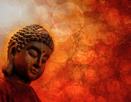 Bronze Zen Buddha Statue Meditating Light Rays Blurred Grunge Textured Red Background Stock Photo