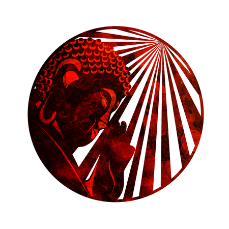 Buddha with raised hand palm and sun light rays in circle border red grunge rustic texture illustration