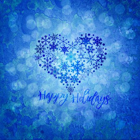 Christmas Happy Holidays Snowflakes Heart Shape on Blue Blurred Grunge Texture Background Illustration Zdjęcie Seryjne