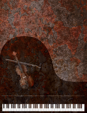 Grand Piano Keyboard and Violin Musical Instruments on Grunge Texture Background