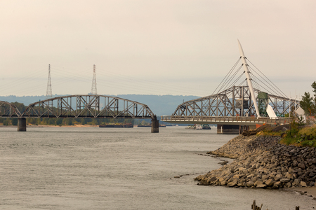 Swing Steel Bridge for trains at Port of Vancouver Washington States USA