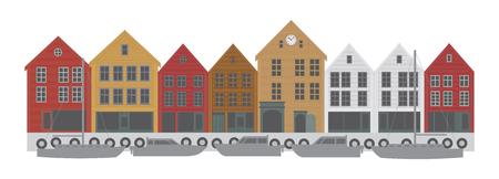Bergen Norwegen Innenstadt mit bunten Gebäuden Einkaufsviertel Illustration