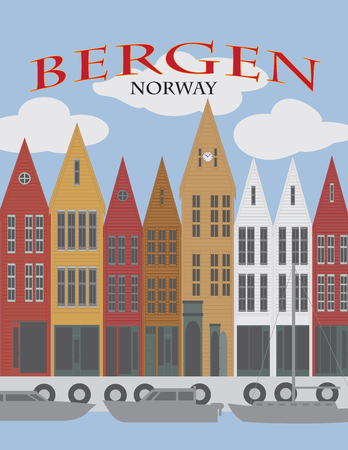 Bergen Norway downtown waterfront colorful wooden houses shopping district poster illustration Stock Vector - 106857392