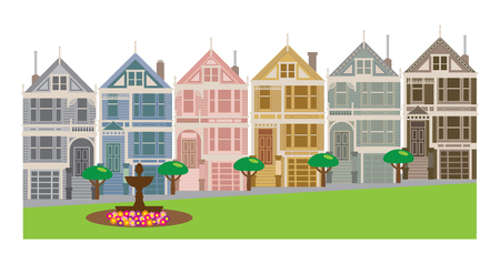 Painted Ladies Victorian and Edwardian row houses by Alamo Square in San Francisco California color Illustration  イラスト・ベクター素材
