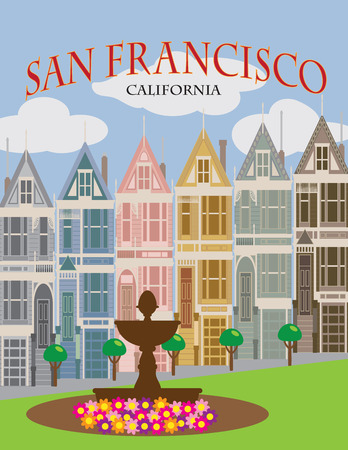 Painted Ladies Victorian and Edwardian row houses in San Francisco California Color Poster Illustration