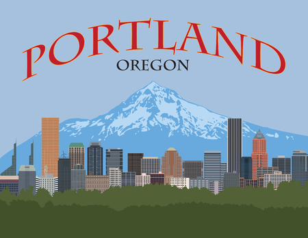 Portland Oregon city downtown skyline with Mount Hood color poster illustration