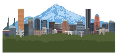 Horizonte del centro de la ciudad de Portland Oregon con la ilustración en color de Mount Hood