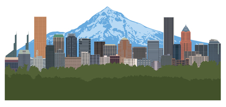 Portland Oregon city downtown skyline with Mount Hood color illustration