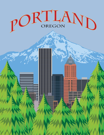 Portland Oregon city downtown skyline with Mount Hood from scenic viewpoint color poster illustration