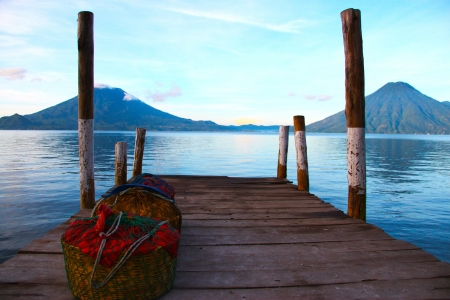 guatemala: Lake Atitlan and volcanos in Guatemala