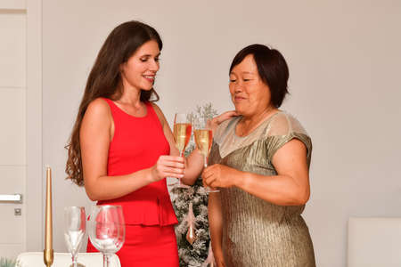 view of two women having a toast with champagne glasses near a Christmas decorated table on an out of focus background. Christmas celebration concept. Archivio Fotografico