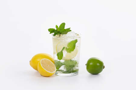 Selective focus of a tempting looking mojito cocktail surrounded by lemons and a lime on a light background. Alcohol and lifestyle concept.