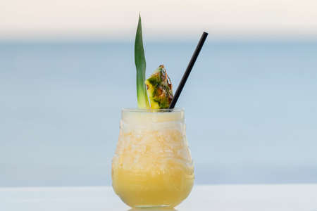 Close up of a delicious pina colada cocktail