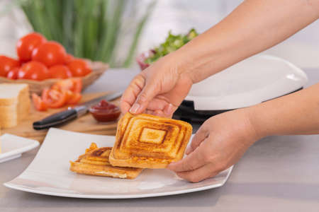 Hands putting a recently made sandwich on a plate