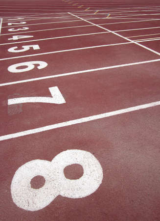 Starting line on athletic track in the stadium                                photo