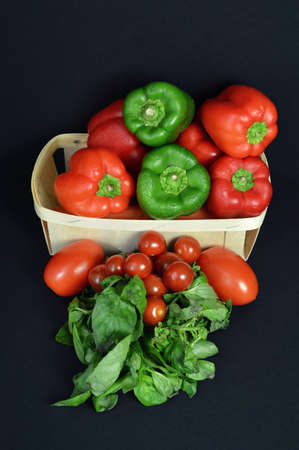 market gardener: A assortment pepper with tomato and aromatic plant.