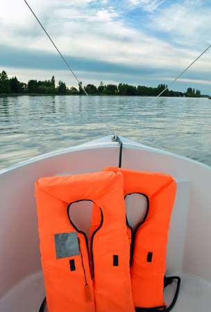 surety: Life jacket in a boat Stock Photo