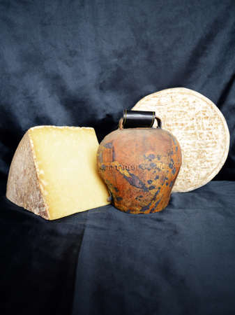 terroir: Cantal cheese and Saint-Nectaire, Region of Auvergne. French country. Stock Photo