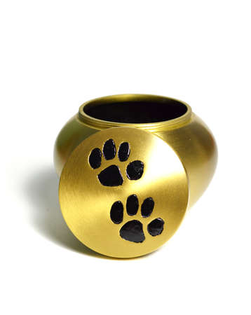 Funeral urn for pets, for the cremation. Stock Photo