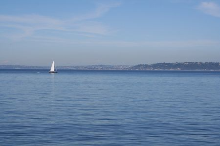 Sailboat in Puget Sound photo