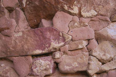 anasazi: Mesa Verde Cliff House Wall Construction Detail Stock Photo