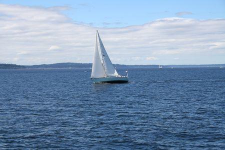puget: Sailing on Puget Sound near Seattle, Washington Stock Photo
