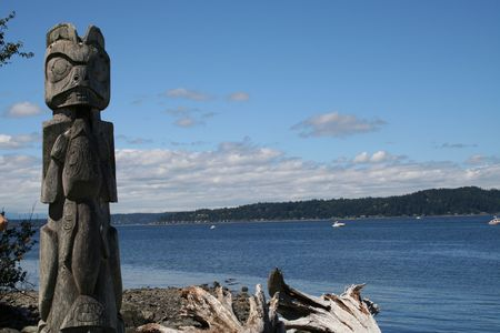 Totem Pole at Tillicum Village Near Seattle Washington
