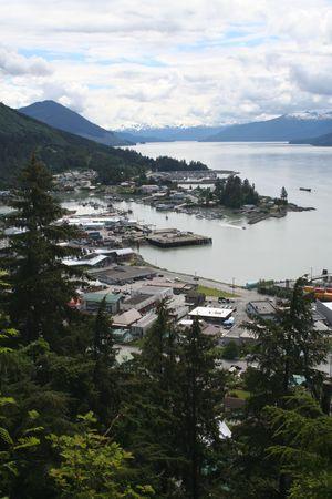 dewey: Wrangell-St Alaska da Mt. Dewey trascurare  Archivio Fotografico