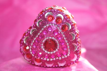 jeweled: Pink Jeweled Heart Box Stock Photo