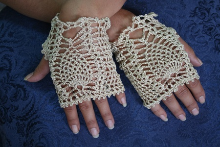 crochet: Fancy Crochet Fingerless Gloves Stock Photo