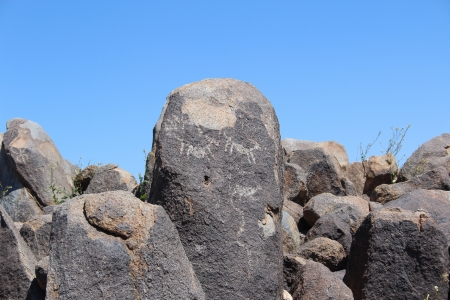 stone carving: Native American Picture Rock in Arizona Saguaro National Park
