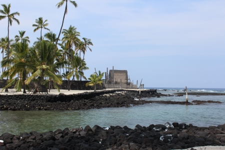 Puuhonua O Honaunau Place of Refuge Park on Hawaii Big Island photo