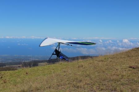 hang glider: Hang Glider at Maui Hawaii Stock Photo