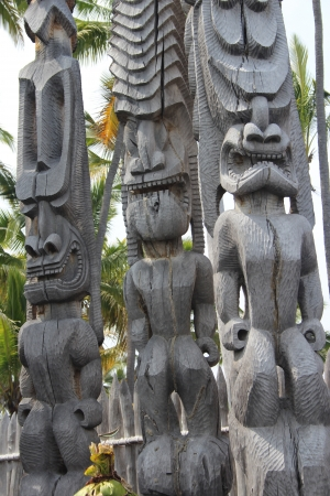 tribal park: Fierce Tiki Statues on Hawaii Big Island