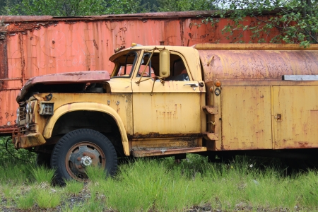 jalopy: Old Rusty Yellow Industrial Truck