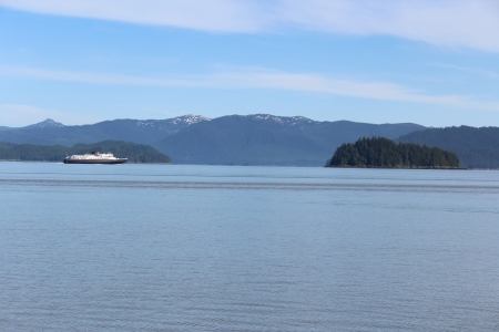 southeastern: Ferry in Southeastern Alaska with Small Island near the Town of Wrangell