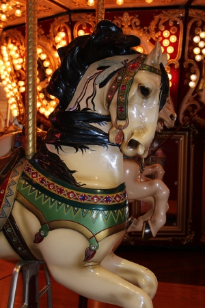 Vintage Carousel Horse on Amusement Ride