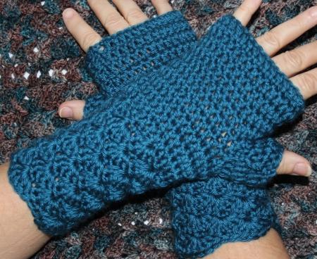Blau Häkeln Handschuh Ohne Finger Handschuhe Lizenzfreie Fotos