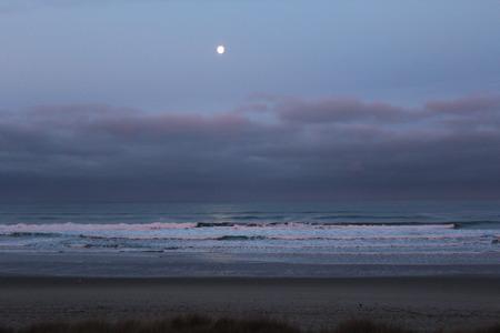 Oregon Coast Beach with Full Moon